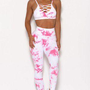 Pink Tie-dye Crisscross Sport Bra and Leggings Set